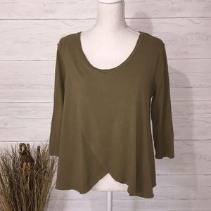 Free People Army Green Pullover Sweatshirt - XS